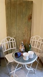 Collapsible bistro set. Barn door with original paint