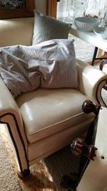 White leather chair and ottoman