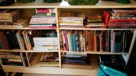 Books and bookcase. Fiction, art, home decor, interior design, craft