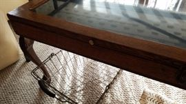 Antique display case coffee table