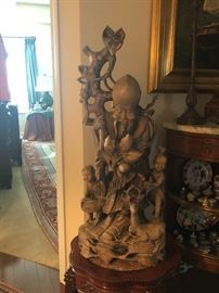 Wooden Sculpture made in Thailand includes the God of fertility 41 inches tall