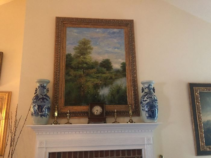 Large gold leaf painting of countryside