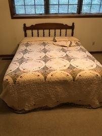 Queen maple headboard & bed