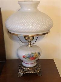 Milk glass hand painted lamp