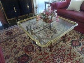 Brass & Glass Coffee Table with Bamboo Frame