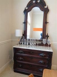 great mahogany dresser/buffet w/marble top