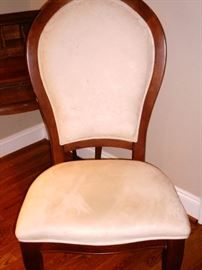 Cream colored suede covered side chair