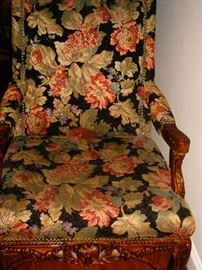 2 wood carved arm chairs