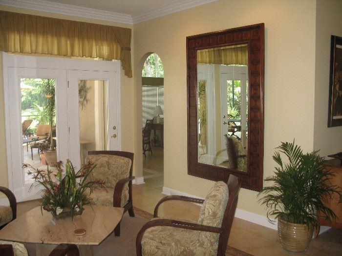 Decorative Mirror & 4 Jamaica Chairs