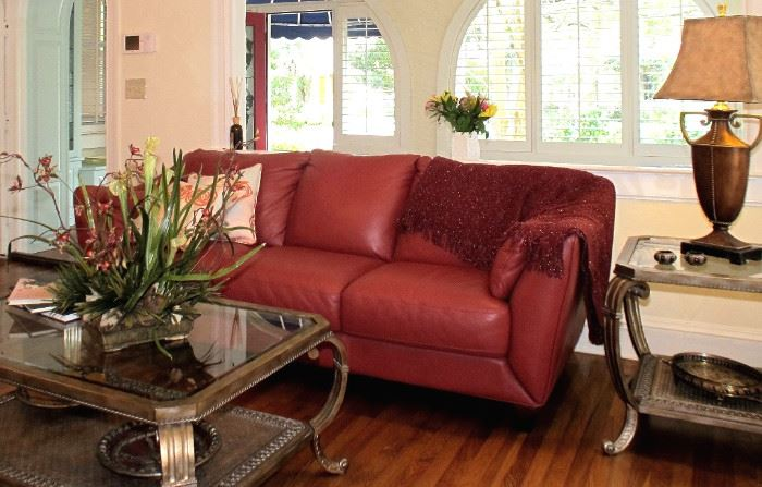 91 Inch Imported Italian Leather Sofa with Glass Sofa Table & 2 Glass Side Tables