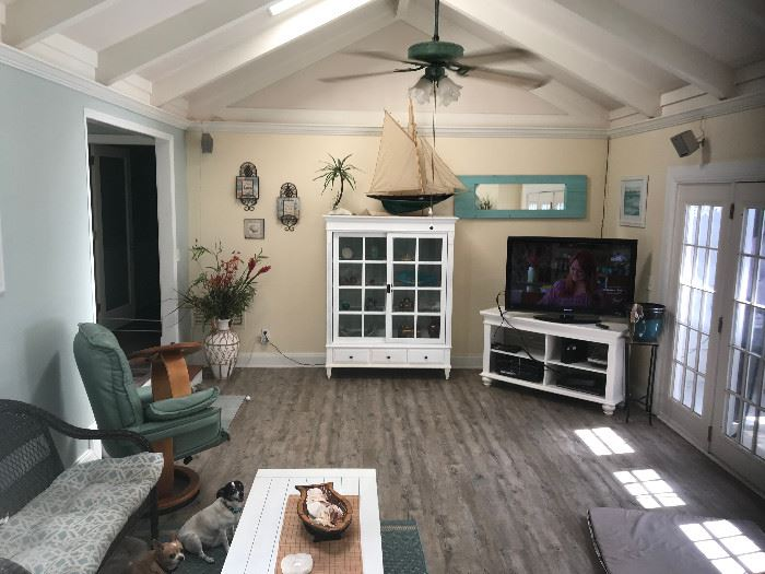"""Whitewashed Ethan Allen Display Chest,  Model Sailboat, Nic Nacs, Wall Art, 46"""" Toshiba Flat Screen TV & White Wood TV Stand"""