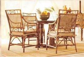 Broyhill Tropical Retreat Table , 4 Caneback Chairs & Sofa Table