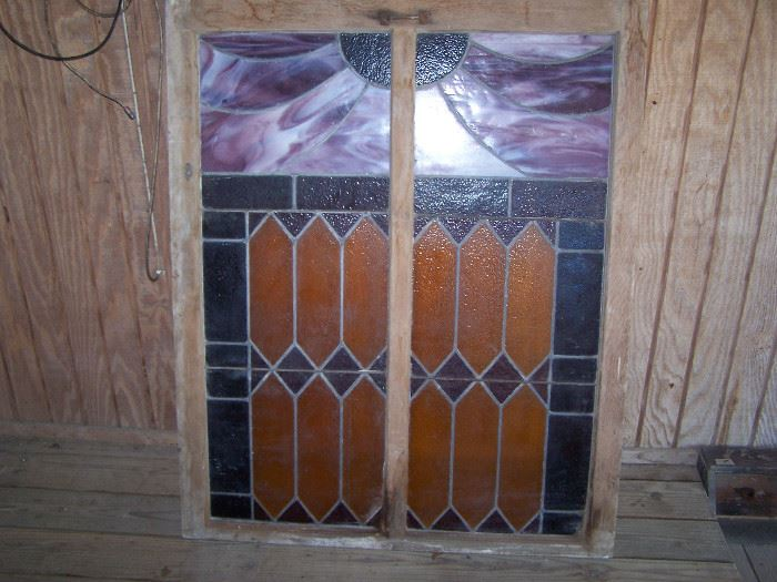 """40"""" x 50"""" stained glass window from old church in Falls City"""