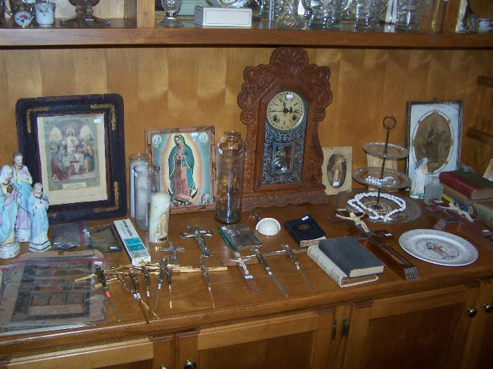 vintage religious things, antique clock - works
