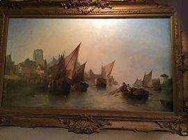Alfred Montague  (1832-1883 United Kingdom) Harbor scene, oil on canvas, signed lower left