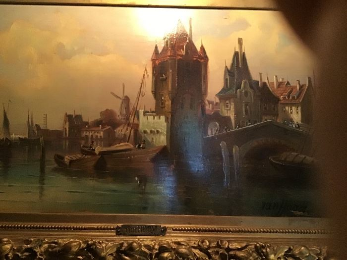 Kirk van Hoom (19/20thc Netherlands) Harbor scene, oil on board, signed