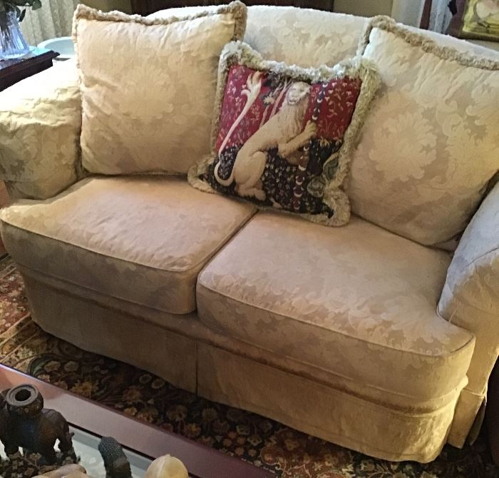 One of a pair of Bernhardt damask loveseats
