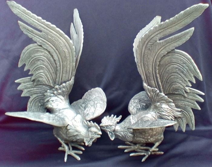 Pair of pewter pheasant figures