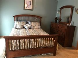 queen Sleep number bed  mission style bed frame and dress with mirror by Bassett