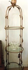 GOLD GUILT METAL 3 TIER CURIO SHELF