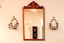 GOLD GUILT MIRROR AND PAIR OF WALL SCONCES