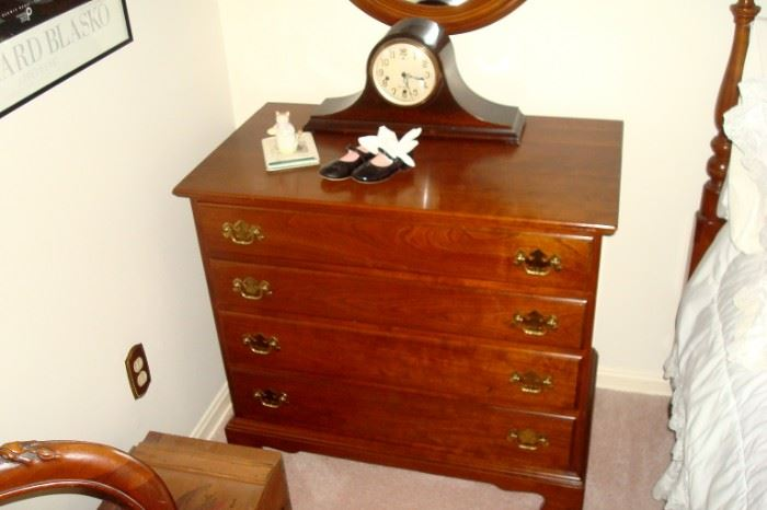 Stickley small chest and mantel clock.