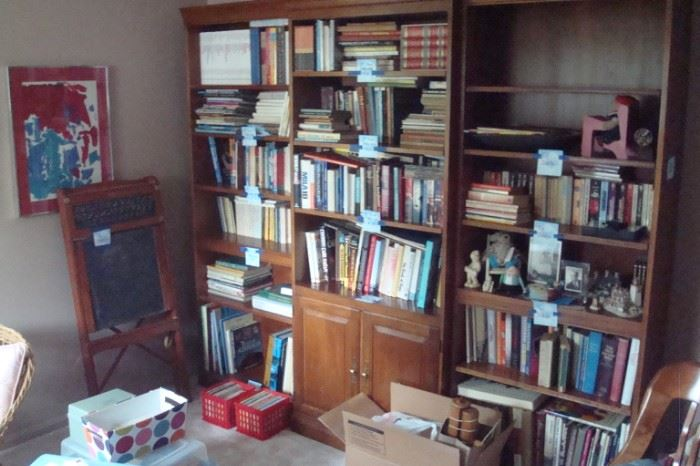 Books and three piece wall unit.