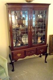 Stickley mahogany china cabinet and most of contents.