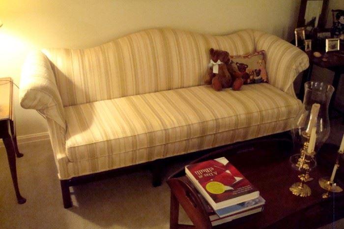Vintage camel back sofa.