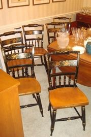 Set of six signed Hitchcock chairs.