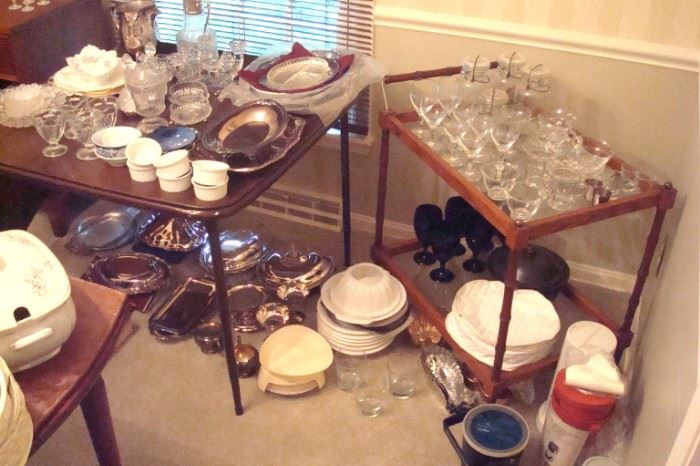 Misc. glass, china, silver collectibles.
