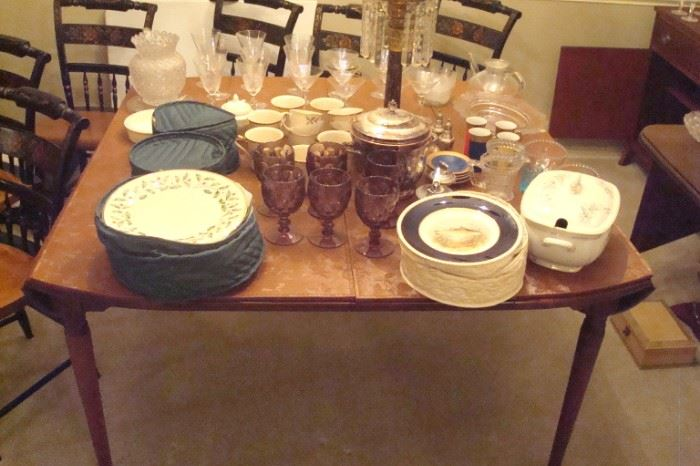 Lenox christmas china, Fish plates and misc. on table.  Table is vintage walnut Queen Anne drop leaf.