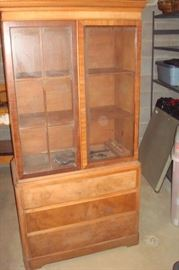 Antique china cabinet which needs re assembling and refinishing.