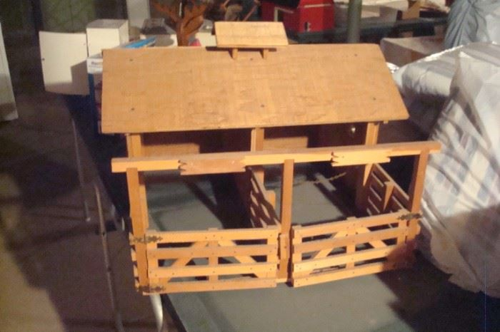 Toy wood corral.