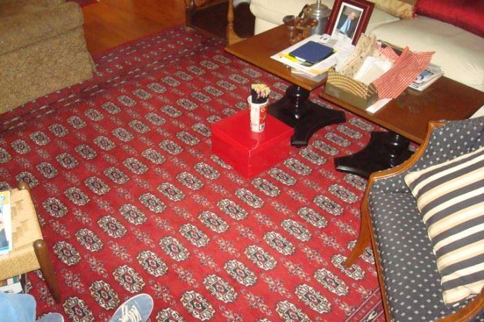 Room size Bokara Persian wool hand knotted rug.