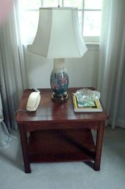 Signed Rookwood vase made into table lamp. Cherry stand is marked Ellsworth of Willoughby, ohio 1978, Western Reserve of Conn.