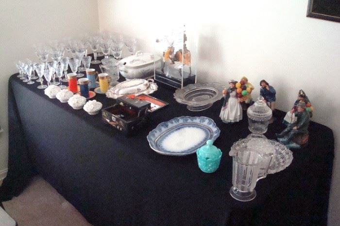 Waterford end of table, Royal Doulton figurines, Antique  Samuri warrior on horse and other collectibles.
