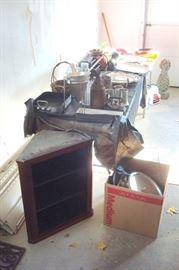garage items & also showing antique walnut hanging cupboard.