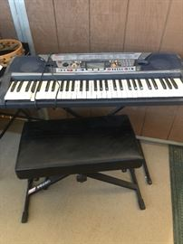 Yamaha Portatone Electronic Keyboard with stand and bench