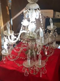 Vintage crystal chandelier with 2 matching sconces