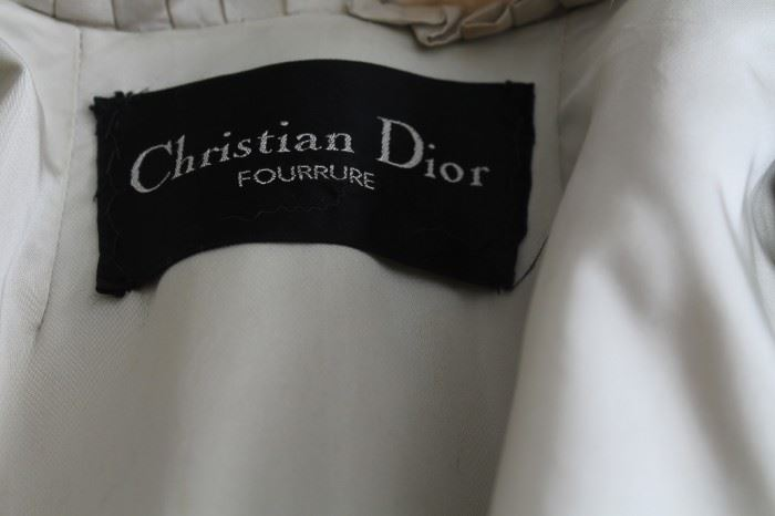 Vintage designer Christian Dior Silver Fox Fur Coat and Collar