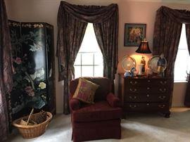 Oriental screen, arm chair, chest/buffet