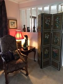 Room screen, end table ( 1 of 2), ornate chair
