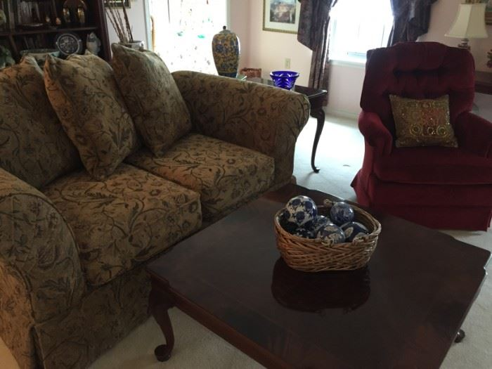 Square coffee table w/Queen Anne legs, excellent love seat, chair