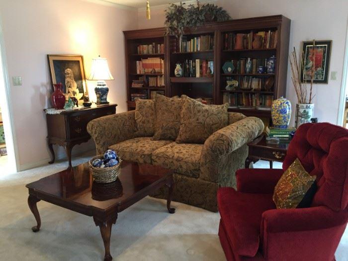 Red upholstered rocker, sofa, living room