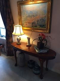 Sofa table, Monet reproduction on canvas