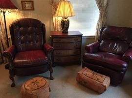 Leather recliners, small chest, Moroccan leather poufs
