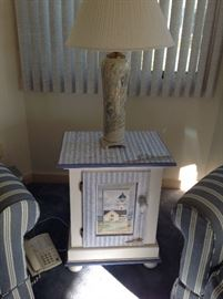 ceramic lamp and  nautical painted wood table