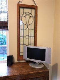 Art Nouveau Pair of clear glass panels in oak frame