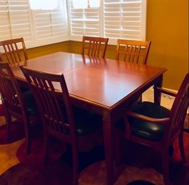 Dining table with leaves, 6 chairs